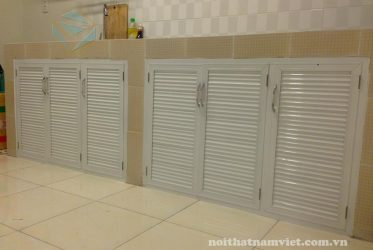 Thiết kế thi công tủ bếp nhôm sơn tĩnh điện nhà chị Mỹ Tân Bình