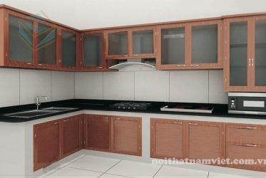 Thiết kế tủ bếp nhôm vân gỗ sơn tĩnh điện đẹp hiện đại
