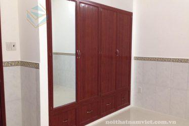 Thiết kế thi công tủ quần áo nhôm kính âm tường nhà Anh Bình