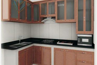 Thi công tủ bếp sơn tĩnh điện vân gỗ đẹp, hiện đại chữ L – 0005