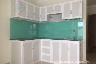 Thiết kế thi công tủ bếp nhôm kính sơn tĩnh điện trắng sứ 0006- Gò Vấp TP HCM