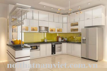 Những tủ bếp nhôm kính màu trắng đẹp nhất hiện nay lắp đặt tại Hồ Chí Minh
