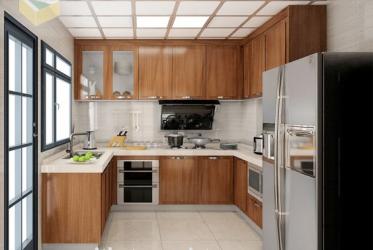 Thiết kế thi công tủ bếp nhôm kính sơn tĩnh điện vân gỗ hiện đại 0011 lắp đặt tại TP HCM