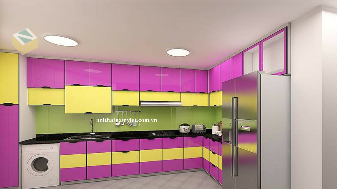 tủ bếp nhôm cánh kính sơn màu