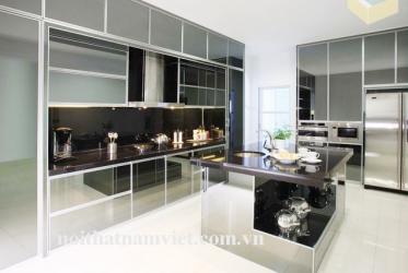 Thiết kế thi công tủ bếp nhôm kính đẹp 0017 lắp đặt tại Thành Phố Hồ Chí Minh