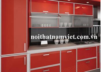 Thiết kế thi công tủ bếp nhôm cánh kính sơn màu đỏ 0018 – lắp đặt TP HCM