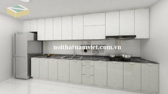 tủ bếp nhôm màu trắng