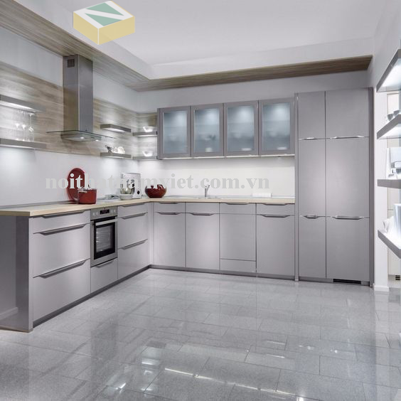 tủ bếp nhôm kính sơn tĩnh điện màu xám