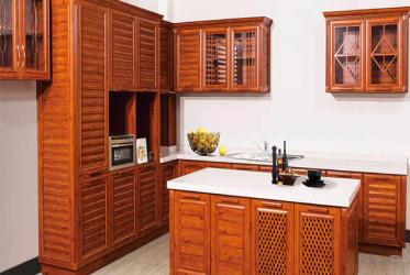 Mẫu tủ bếp nhôm kết hợp bàn đảo 0020 đẹp lắp đặt tại TP HCM