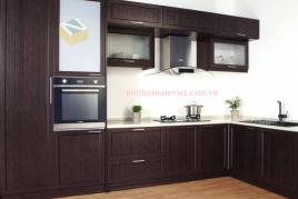 Tủ bếp nhôm sơn tĩnh điện màu nâu sang trọng- TBNK-0023