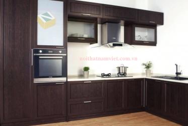Tủ bếp nhôm sơn tĩnh điện màu nâu sang trọng – TBNK-0023