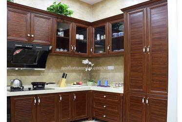 Tủ bếp nhôm giả gỗ 0021 đẹp lắp đặt tại Thành Phố Hồ Chí Minh