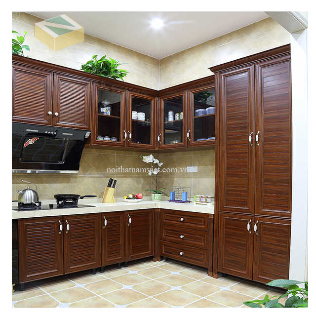 tủ bếp nhôm giả gỗ