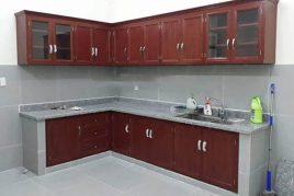 Mẫu tủ bếp nhôm kính giả vân gỗ đẹp giá rẻ tại quận Bình Tân - Chánh
