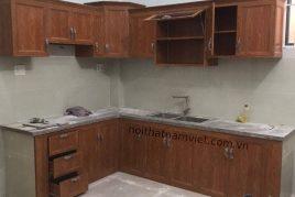 Xưởng đóng tủ bếp nhôm giả vân gỗ rẻ đạp tại quận Hóc Môn TPHCM