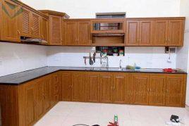Nhận đóng tủ bếp nhôm chữ L giả gỗ cao cấp quận Bình Chánh